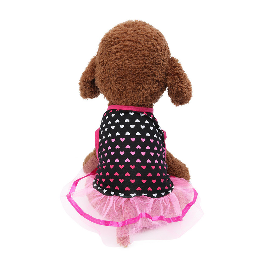 Pet <font><b>Dog</b></font> Skirt Cat 1PC Spring And Summer Breathable Elegant Love Print Lace Princess Skirt <font><b>Dog</b></font> <font><b>Dresses</b></font> <font><b>XS</b></font>/S/M/L 0514#30 image