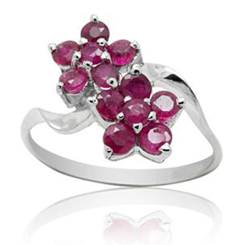 Qi Xuan_Fashion bijoux _ rouge pierre fleur anneaux _ réel rouge Rings_S925 solide argent mode rings_fabricant directement ventes