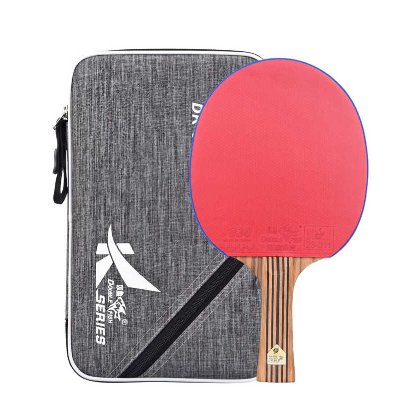 New Double Fish 7 layers Carbon Table Tennis Racket Pingpong Paddles Racquet Bat DK 6 Flared Long Handle With Polish Texture Bag