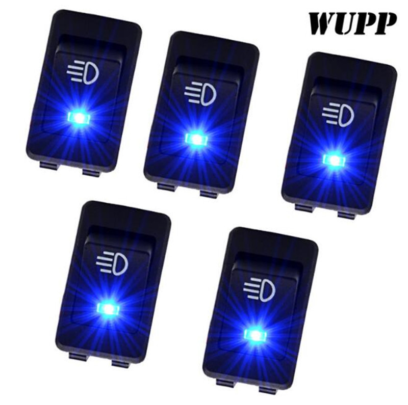 WUPP 5PCS 12V 35A Car Auto Fog Light Rocker Toggle Switch Blue Led Dashboard Sale Plastic On/ Off Motorcycle Switch 4Pin