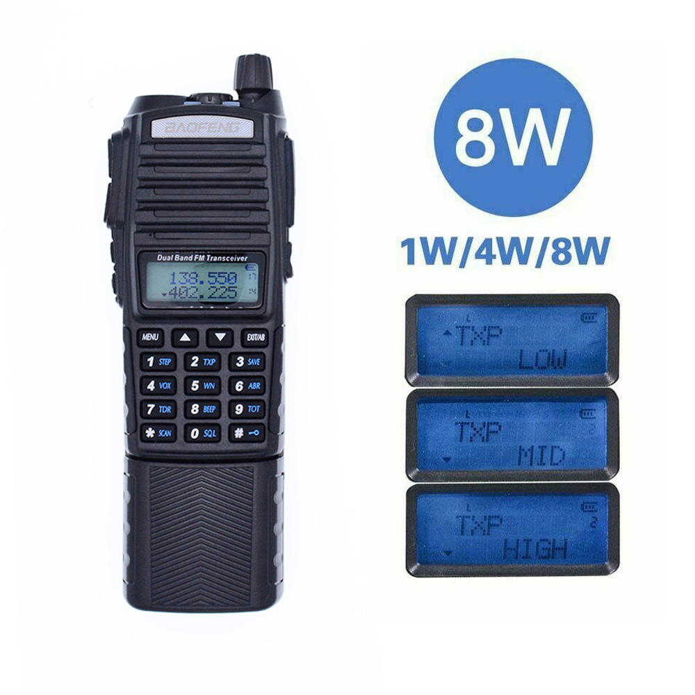 2019 Baofeng UV-82 8W 10KM Long Range Powerful Walkie Talkie Portable CB Vhf/uhf Two Way Radio Amador 8 Watts+ 3800Mah Battery