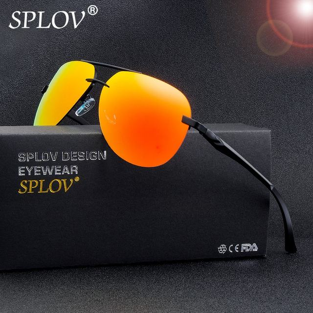 74d6b782bea SPLOV Aluminum Magnesium Polarized Sunglasses for Men Women Aviation  Mirrored Sun Glasses Classic Driver Eyewear De Sol