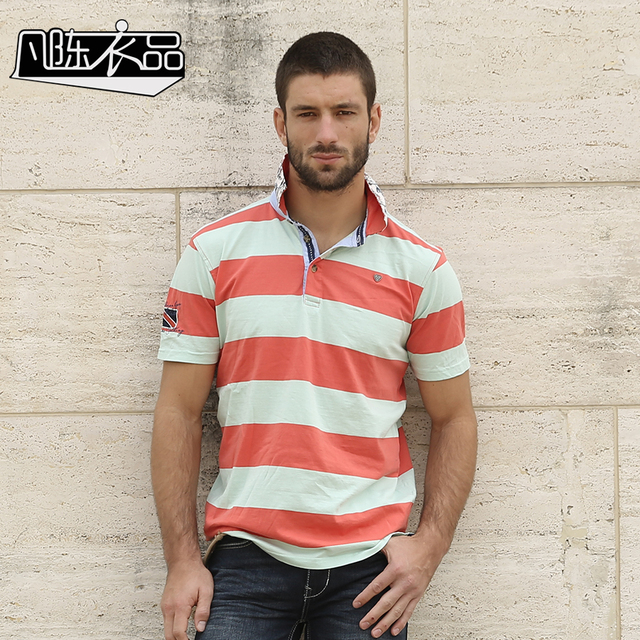 Free Shipping New men's Male fashion casual short sleeved Lapel sundress striped POLO knit shirt embroidered On Sale