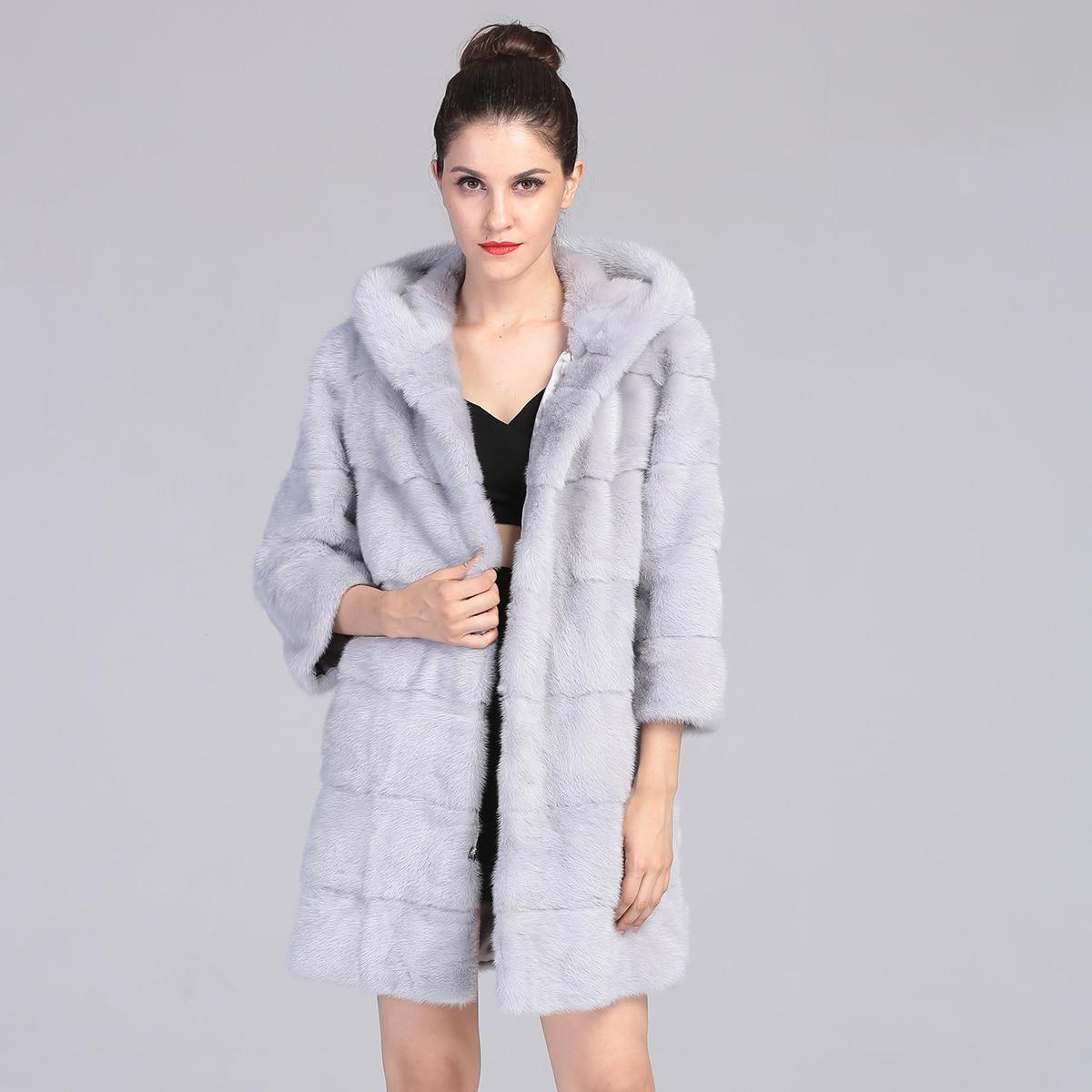 AAA Light Grey Long Mink Fur font b Jacket b font Natural Mink Fur Parka 2016