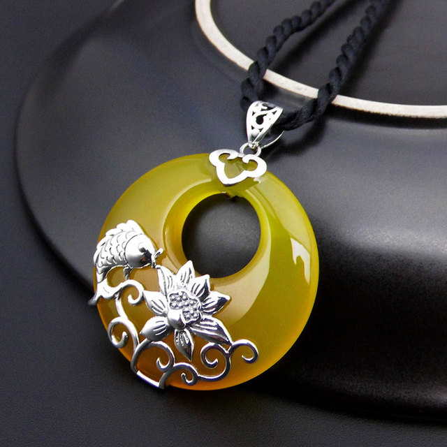 925 silver fish pendant flower round natural yellow stone 100 pure 925 silver fish pendant flower round natural yellow stone 100 pure s925 solid thai silver aloadofball Image collections