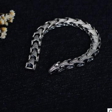 925 пробы Серебряный винтажный тайский серебряный широкий тяжелый Ретро мужской Змеиный браслет 21,5 см - 2