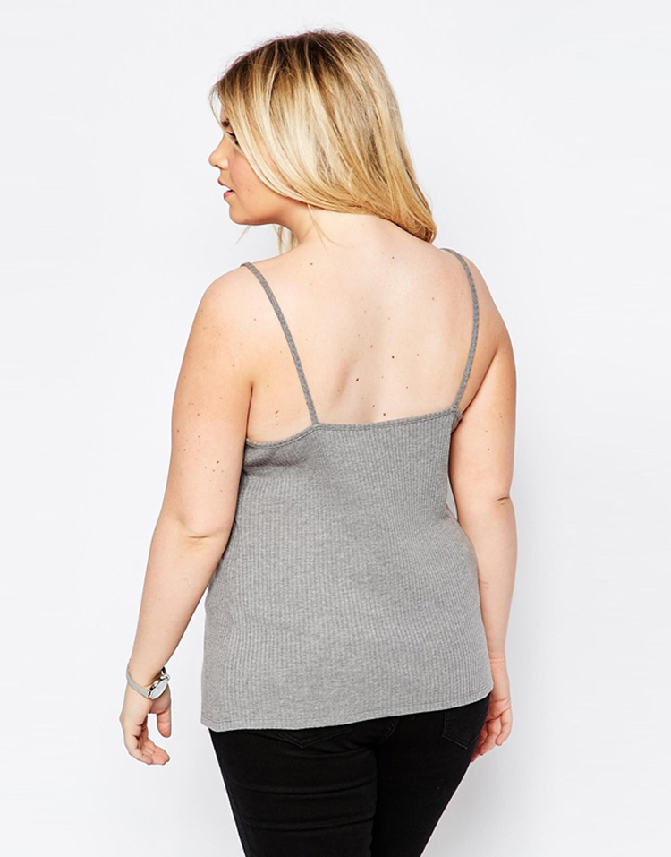 02 Plus size Camis for women camisole knitted slim grey  large xxxl tops sleeveless km P245 (2)