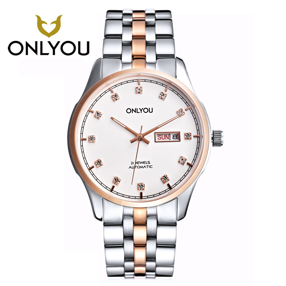 ONLYOU Fashion hot sell man all steel watches 2017 diamond bracelet business watch black/gold/white Luxury Famous Male Clock