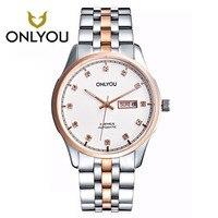 ONLYOU Fashion hot verkopen man alle stalen horloges 2017 diamond armband business horloge zwart/goud/wit Luxe Beroemde mannelijke Klok