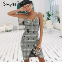 Simplee Plaid Strap women dress office lady High waist split sash short dress Double breasted casual autumn winter dress 2018