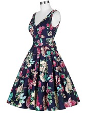 Women Big Swing Dress Summer style 2016 Casual Retro Vintage 1950s 60s Floral Print Dresses Plus Size Elegant Tunic Vestidos