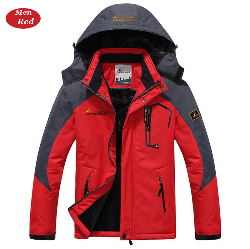 UNCO&BOROR winter jackets men women`s outwear fleece thick warm cotton down coat waterproof windproof parka men brand clothing 15