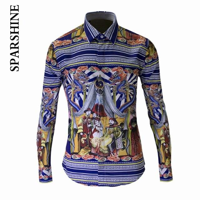Homens Marca de luxo Camisa Chemise Hombre 2015 Design de Moda Magro Dos Homens Manga Comprida Camisas de Vestido Casual Elegante Osso Impresso Camisas