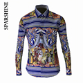 Luxury Brand Hombres Camisa Chemise Hombre 2015 de Diseño de Moda Para Hombre Camisas de Vestir de Manga Larga Delgada Ocasional Con Estilo de Hueso Impreso Camisetas