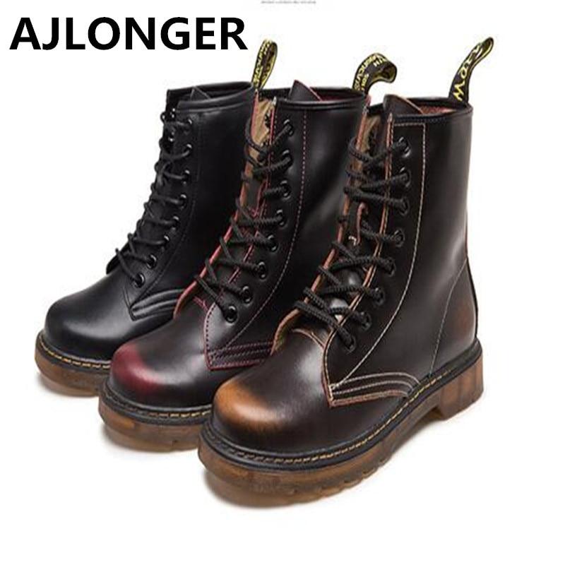 2017 высокое качество Пояса из натуральной кожи обувь Мужские ботинки высокие мотоботы Martin Демисезонный обувь