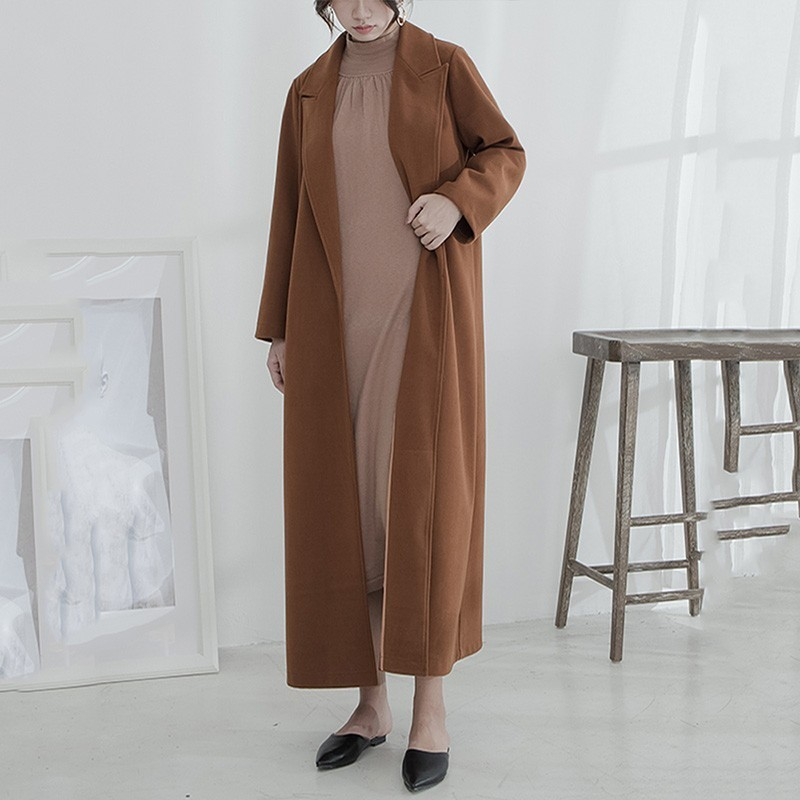 Hiver 2018 Manteau Lâche Ob559 ewq Collar Mode Turn Nouvelle Femmes Ouvert down Pleine caramel Marée Color Apricot Long Color Vintage Manches Sitich De Automne qtdwSnZd