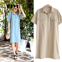 GIYU 4XL Big Size Summer Women Solid Dress Casual Short Sleeve Dresses Loose Vestido Turn-down Collar robe femme giyu women shirt dress with sash turn down collar dresses pocket vestido casual office lady empire robe femme
