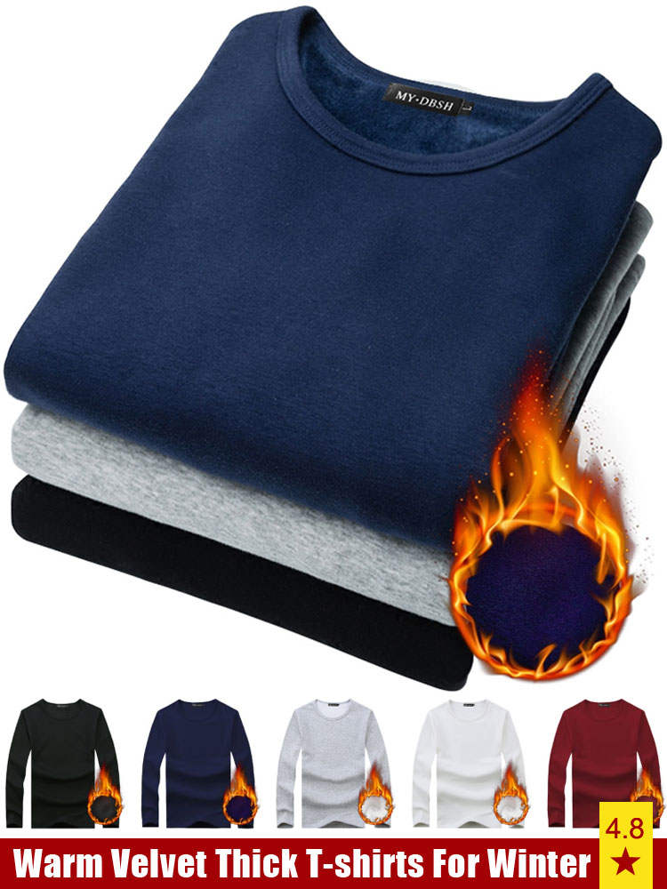 T-Shirt Slim-Fit Velvet Soft Black White Thick Winter Plus-Size Men Homme Autumn Men's