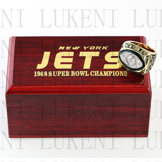Replica 1968 Super Bowl III New York Jets Championship Ring Football Rings  With High Quality Wooden Box Best Gift LUKENI 4baf480c4