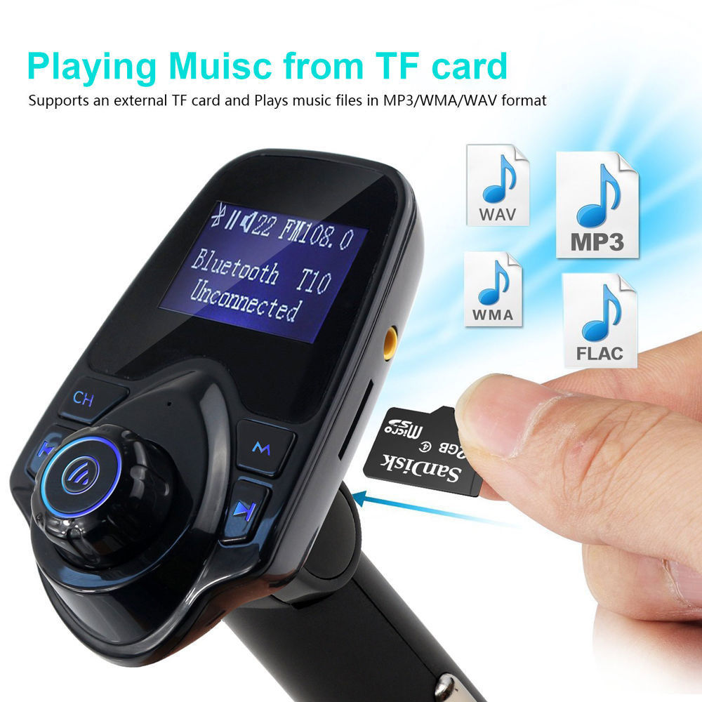 DHL 20 PCS Bluetooth Car Kit FM Transmitter Handsfree Call MP3 Player Radio For iPhone 6