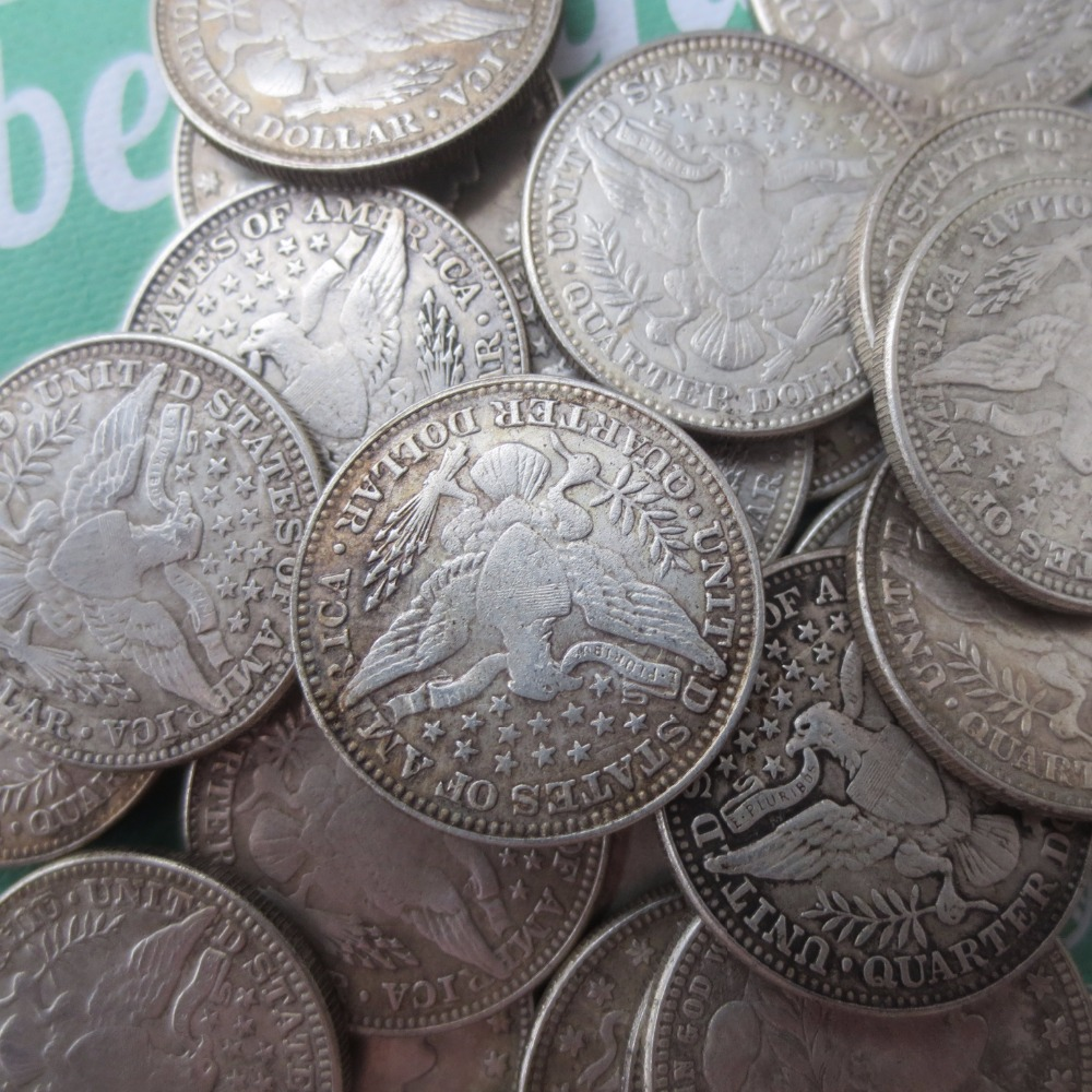 90% silver or silver plated U.S. Coins Mixed date Barber Quarter Dollars Retail / Whole Sale USA Copy Coins