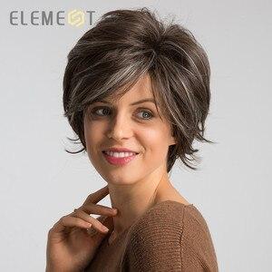 Element 6 дюймов синтетический короткий парик из натуральной волны для женщин, смешанный коричневый цвет, Pixie Cut, вечерние парики для косплея для...