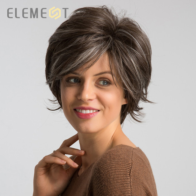 Element 6 inch Synthetic Short Natural Wave Wig for Women Mixed Brown Color Pixie Cut Cosplay Party Wigs for White/Black Women