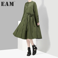 EAM 2018 New Spring Solid Color Stand Collar Long Sleeve Single Breasted Loose Big Size