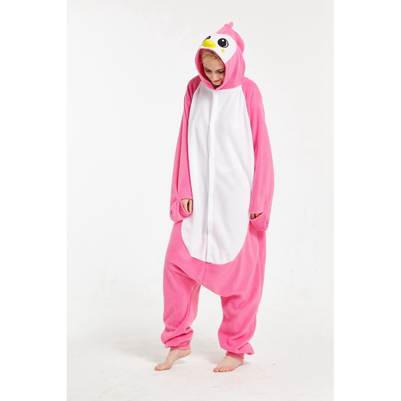 Pink penguin Animal Cosplay Costume Onesie Hoodie For Adult Women Men Halloween Holiday Party Fleece Full Length