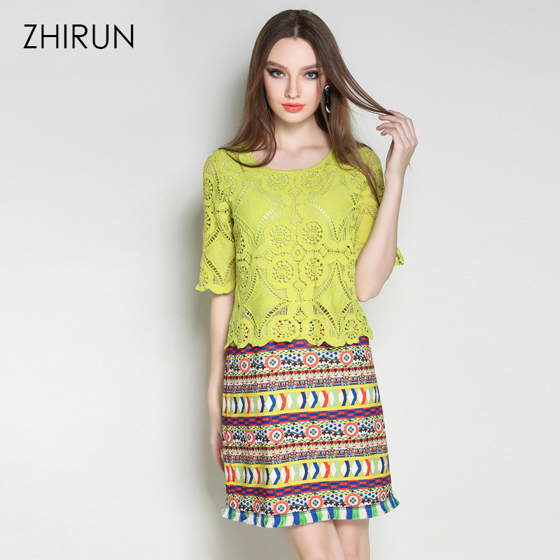 9c19d9544931e Women Ethical Green Lace Dress Pieced Tribe Pattern Printed Fringe Trim 1 2  Sleeve Shift Dresses Plus Size L TO 5XL-in Dresses from Women s Clothing on  ...