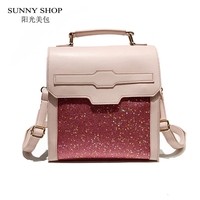 SUNNY SHOP Fashion Stylish Bling Bling Women Backpack 2018 Small PU Leather Rucksack Korean Backpacks For Teenage Girls Pink Bag
