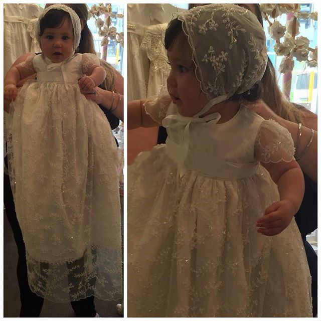 Baby Girls Baptism Gown Lace Beads Infant Christening Dress Custom Made High Quality With Bonnet With Shoes cute infant lace long custom made baby girls newborn baptism rope christening dress blessing gown with bonnet