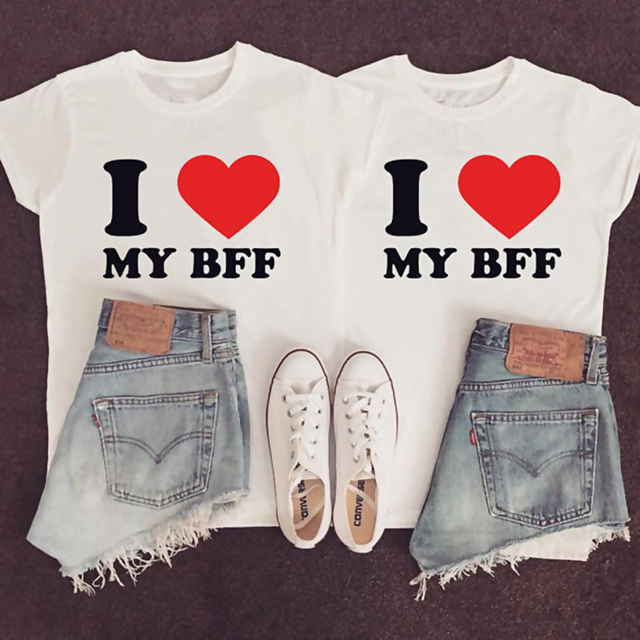 c1be65b1 EnjoytheSpirit I Love My Bff RED Heart for Adults Sister Tshirts Best  Friend T Shirts Couple