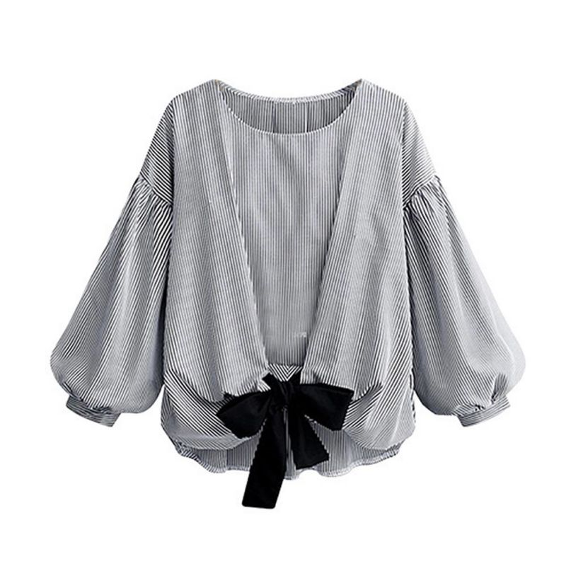 Women Blouse Autumn Round Collar Stripes Pullover Bow Lantern Sleeve Solid Color Casual Loose Tops