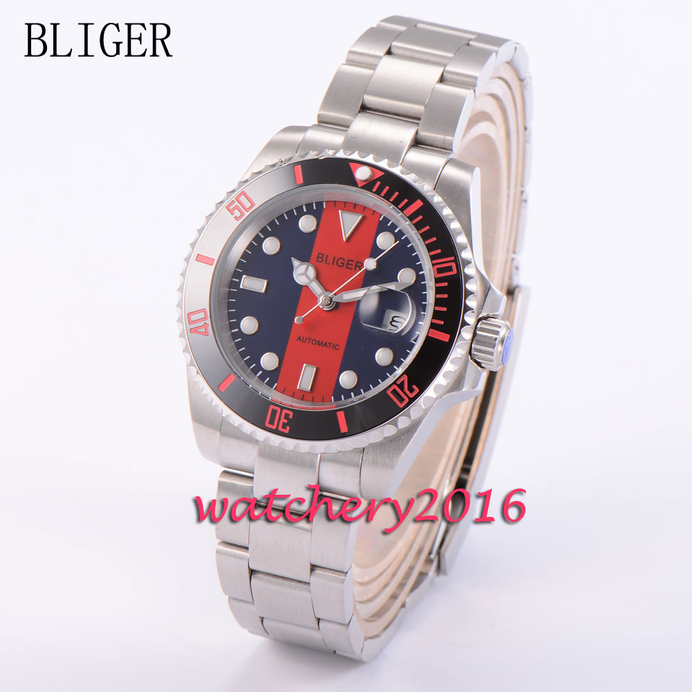 Фото New 40mm Bliger blue & red dial ceramic bezel stainless steel deployment clasp sapphire glass automatic movement Men