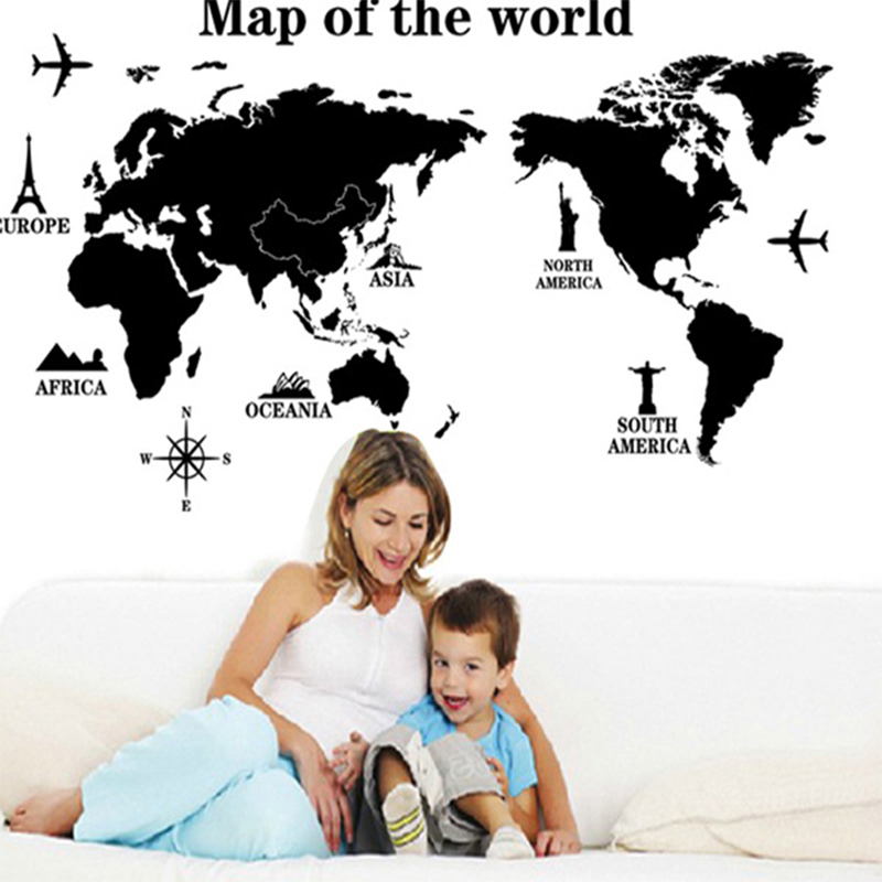 Removable Map Of The World Wall Stickers Creative Home Decoration Accessories DIY Living room Bedroom Decorations