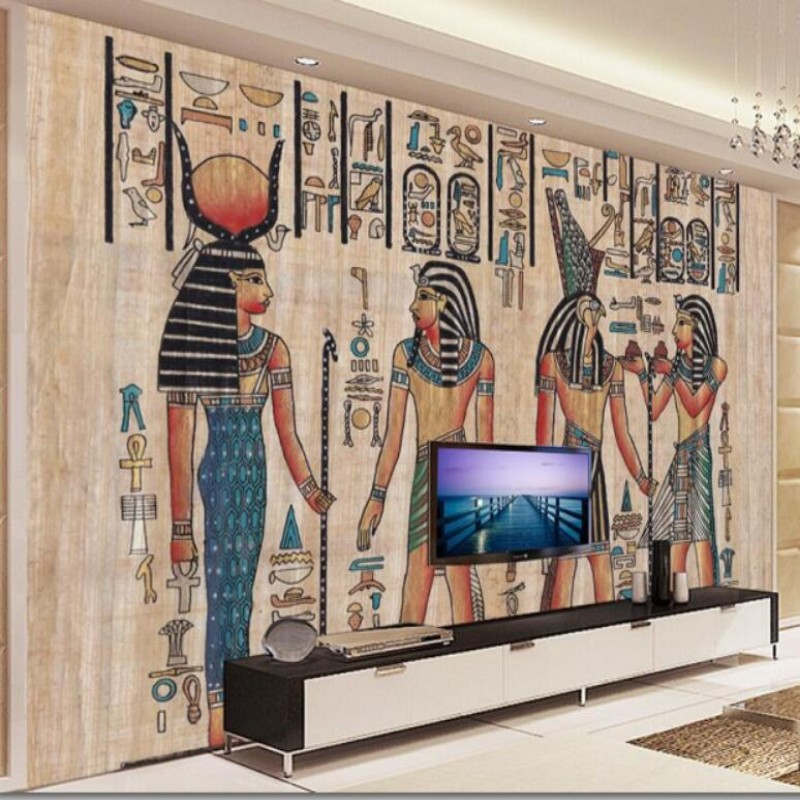 Beibehang wallpaper for walls 3d Egyptian custom wallpaper mural painted wood living room TV backdrop photo wallpaper murals