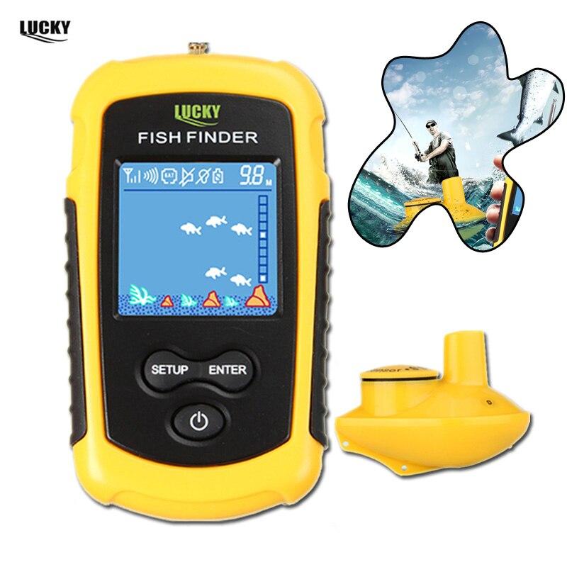 Lucky Wireless FishFinder Sonar Fishing Lure 120M Operate Fish Icon Display w Sonar Echo Sounder Alarm