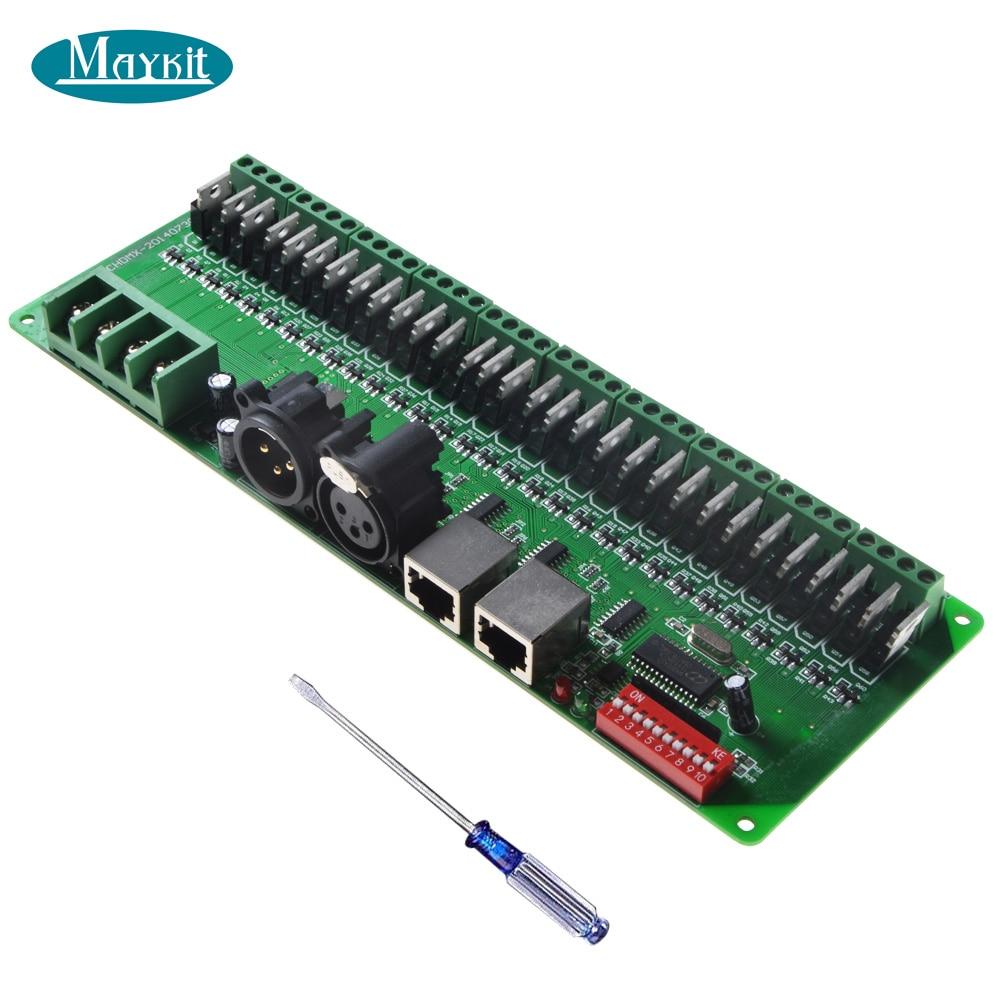 Maykit 30 Channel DMX512 LED Controller DC9V-DC24V RGB DMX Decoder for LED Rope LightingMaykit 30 Channel DMX512 LED Controller DC9V-DC24V RGB DMX Decoder for LED Rope Lighting
