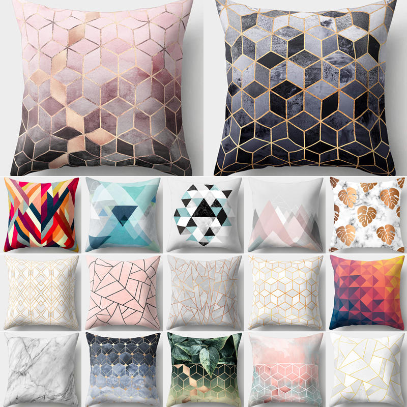 ><font><b>Decorative</b></font> <font><b>Cushions</b></font> <font><b>Cover</b></font> Pillow Case Geometric Printed Polyester Throw Pillow Decor for Home Decoration Sofa Pillowcase 40507