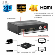 ACEHE Premium HDMI 1*2 1080P 3D Stereo Audio Extractor Converter HDMI Audio Splitter Adapter US/EU Plug Black Hot Sale