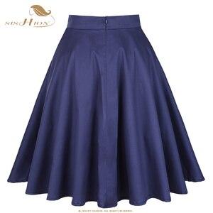 Image 5 - SISHION Cotton High Waist Elegant Sexy School Girls Swing Skirts Womens Ladies A Line Party Casual Navy Blue Vintage Skirt