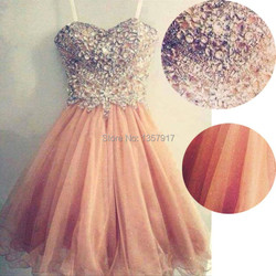 Real picture hot sale popular spaghetti strap tulle beaded short coral prom dress peach prom gown.jpg 250x250