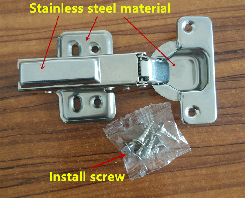 Stainless steel Hydraulic Hinge Damper Buffer Cabinet Cupboard Door Hinges Soft Close Furniture hinges Hardware 2pcs 90 degree concealed hinges cabinet cupboard furniture hinges bridge shaped door hinge with screws diy hardware tools mayitr