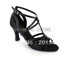 New Black Leather T-Strap Ballroom Shoes LATIN Dance SALSA Dance Shoes Tango Shoes For Women