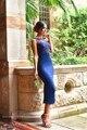 2016 azul Royal curto chá de comprimento mangas bainha vestidos dama de honra saia lápis frisada Lace apliques Sexy ver através de vestido