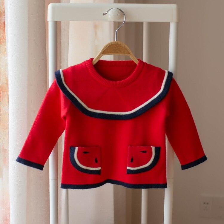 Children's sweater 2018 spring and autumn girls cartoon watermelon lapel sweater kids baby cute sweater red sweater baby blumarine sweater