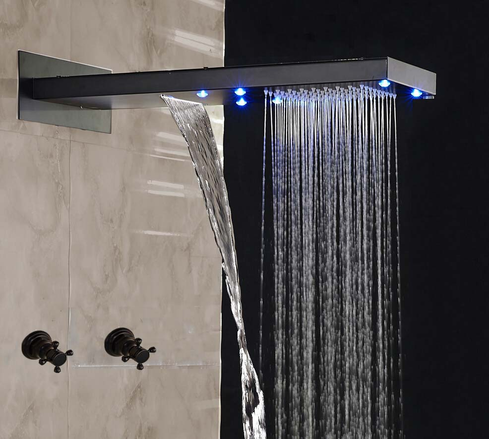 Oil Rubbed Bronze LED Rainfall Waterfall Shower Head Cross Handles ...