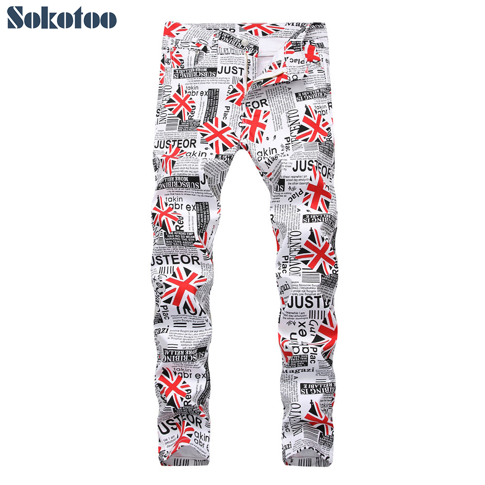 Sokotoo Men's English Flag Pattern White Printed Jeans Fashion Slim Fit Paper Letters Colored Painted Pants