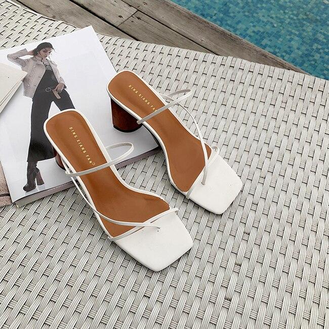 HTB1hL2kbBKw3KVjSZTEq6AuRpXao MONMOIRA Wood Heel Slipper Women's Sandals Vintage Square Toe Narrow Band High Heel Sandals Women Summer Shoes Women SWC0713
